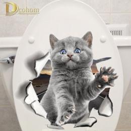 Różnych Cute Kitten kot kreskówka zwierząt naklejki ścienne 3D żywe dziecko Kid pokój łazienka dekory skórki i kij toaleta nakle