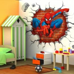 45*50 cm hot 3d otwór słynnej kreskówki film spiderman naklejki ścienne dla dzieci pokoje chłopców prezenty poprzez naklejki ści
