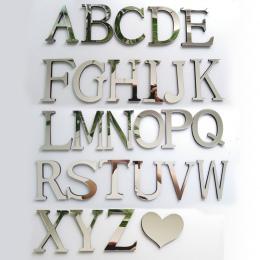 Nowy akrylowe lustro 3D DIY naklejki ścienne naklejki angielskie litery do dekoracji domu osobowość twórcza specjalne