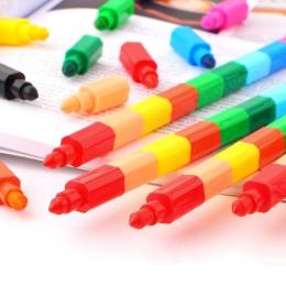 2 sztuk 12 kolorów kredki kreatywne klocki kredka śliczne Kawaii Graffiti długopisy do malowania koreański biurowe Student dla d