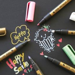 1 pc igła rysunek metalowe kolor craft długopis złoty i srebrny marker z farbą pióro kredka