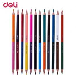 Deli kreatywny dichromatyczny profesjonalne kolorowe ołówki do szkoły dla dzieci do rysowania artystycznego dostaw jakości drewn