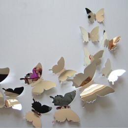 12 sztuk/zestaw nowy przyjeżdża lustro Sliver 3D motyl naklejki ścienne dekoracja na przyjęcie ślubne dekoracje do domu DIY