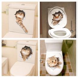 Kot żywy 3D rozbity przełącznik naklejki ścienne toaleta wc kuchnia dekoracyjne naklejki śmieszne zwierzęta wystrój plakat pcv M