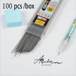 100 sztuk/pudło mechaniczny wkład do ołówka grafitowy ołów 2B 0.5mm 0.7mm przezroczyste automatyczne ołówki szkolne materiały pa