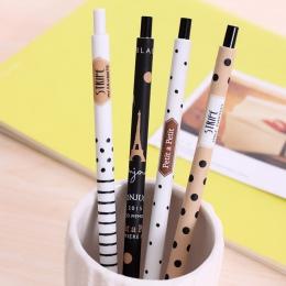 4 sztuk/partia moda 0.5mm automatyczny długopis śliczne czarne i w białe kropki plastikowy ołówek mechaniczny dla uczniów uczący