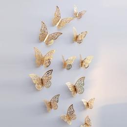 12 sztuk 3D tapety Hollow naklejki ścienne motyl lodówka do dekoracji wnętrz nowe naklejki ścienne wysokiej jakości dekoracje do