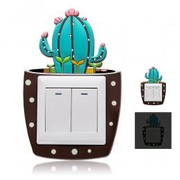 Cute Cartoon 3D kaktus fluorescencyjne ściany silikonowe przełącznik On-off naklejki dla dzieci lampa przełącznik wylot dekoracj