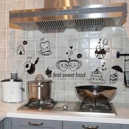 Kuchnia naklejki ścienne kawy słodkie jedzenie DIY Wall Art naklejka dekoracji piekarnik jadalni tapety naklejki ścienne pcv/kle