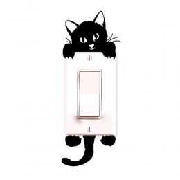 Czarny-światło świecenia przełącznik naklejki Home Decor kreskówka świecące naklejki ścienne Dark Glow naklejka dekoracyjna, kot