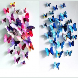 12 sztuk/partia 3D pcv naklejki ścienne magnesy w kształcie motyli DIY magnesy na lodówkę plakat dekoracyjny do domu dla dzieci