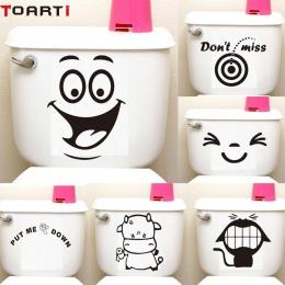 Duży uśmiech twarzy Cartoon deska klozetowa naklejki Diy naklejki ścienne wystrój domu ściany sztuki malowidła wodoodporny klej