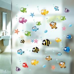 Podwodne ryby rozgwiazda bąbelek naklejki ścienne dla dzieci pokoje Cartoon przedszkole łazienka dzieci pokój Home Decor naklejk