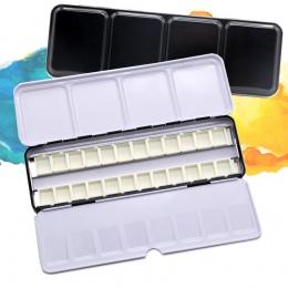 Puste pole akwarela farby puszki paleta malarstwo do przechowywania z 6/12/24 sztuk pełna patelnie i 12/ 24/48 pół patelnie do m