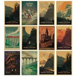 Nowy w stylu vintage plakat Harry Potter hogwart ekspresowe ulica pokątna Hogsmeade itp folia papier pakowy ścienne plakaty film