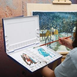 Superior nawilżający kolor wody paleta malarska profesjonalne plastikowe akwarela Art Palette dostaw paleta acuarela