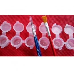 2 ml x 6 sztuk Conjoined kształt akwarela paleta farby do tworzyw sztucznych do paznokci pędzelek do żelu pudełko na długopis ak