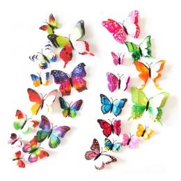 12 sztuk 3D podwójna warstwa motyl naklejki ścienne na ścianie na wystrój domu DIY motyle magnesy na lodówkę dekoracja pokoju