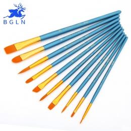 BGLN 10 sztuk/zestaw akwarela gwasz pędzle inny kształt okrągły wskazał końcówki nylonowe włosy malowanie pędzlem zestaw dostaw