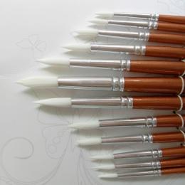 12 sztuk/partia okrągły kształt nylonu włosów drewniany uchwyt pędzel zestaw narzędzi do szkół artystycznych akwarela malarstwo