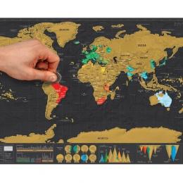 1 sztuk typu Deluxe usunąć czarny mapa świata Scratch off mapa świata spersonalizowany podróży Scratch do mapy pokój dekoracji w