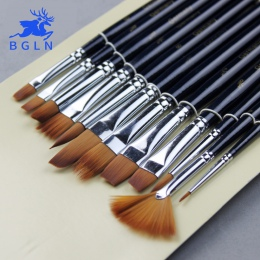 12 szt akwarela zestaw pędzli do malowania Nylon Hair Brush malarstwo różnorodność stylu krótki pręt oleju pędzel do akrylu dług