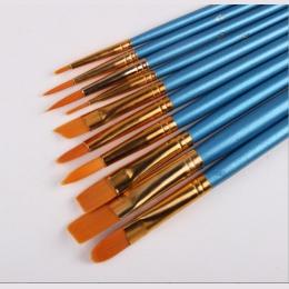 10 sztuk/zestaw akwarela gwasz pędzle inny kształt okrągły wskazał końcówki nylonowe włosy malowanie pędzlem zestaw dostaw sztuk