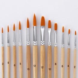 12 sztuk/partia pędzel inny rozmiar dziennika kolor Nylon Hair pędzie do farb olejnych zestaw do akwareli akrylowy do rysowania