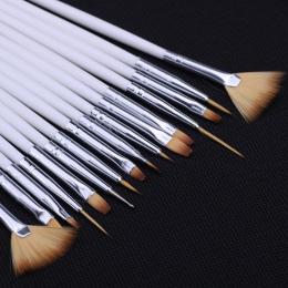 15 sztuk długi ogon pędzelek do zdobień z tworzywa sztucznego uchwyt Pull linii hak długopis artystów paznokci zestaw krótki min