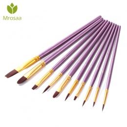 Mrosaa 10 sztuk fioletowy pędzel do malarstwa artystycznego zestaw Nylon włosów akwarela akrylowe pędzie do farb olejnych pędzel