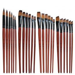 Nylon olejek do włosów pędzel okrągły Filbert anioł płaskie akrylowe nauka Diy akwarela długopis dla artystów malarzy początkują