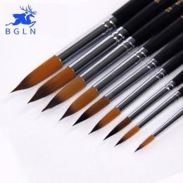 BGLN 9 sztuk długa rączka nylonowa akwarela szczotki gwasz pędzel do akrylu długopis pincel para pintura dostaw sztuki 804