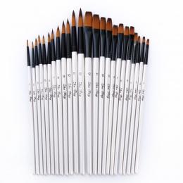 12/24 sztuk nylonowe włosy drewniane uchwyt akwarela zestaw pędzelków do nauki oleju akrylowe malowanie Art pędzle materiały