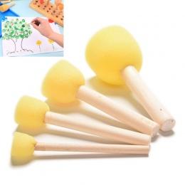 4 sztuk/zestaw DIY drewniane gąbki dla dzieci narzędzie do malowania rysunek żółta farba uchwyt pędzla malowanie Graffiti dzieci