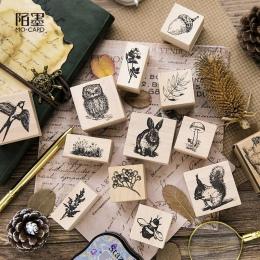 W stylu Vintage słodkie zwierząt rośliny ozdoba pieczęć drewniane i gumowe stemple do scrapbookingu materiały piśmienne DIY craf