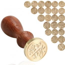 Retro 26 litera A-Z pieczęć woskowa pieczęć litera alfabetu Retro stempel Z drewna w zestawy wymienić miedzi głowy Hobby zestawy