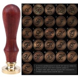 WHISM mosiądz głowica prysznicowa wosk znaczki A-Z litery lak pieczęć zaproszenie na ślub drewniany uchwyt znaczki boże narodzen