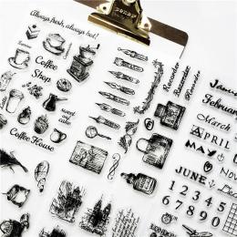 1 pc przezroczyste uszczelnienie silikonowe DIY retro znaczek alfabet angielski podróży materiał wyczyść znaczki materiały biuro