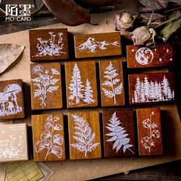 XINAHER w stylu Vintage las rośliny księżyc dekoracje pieczęć drewniane i gumowe stemple do scrapbookingu materiały piśmienne DI