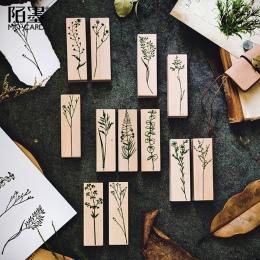 XINAHER w stylu Vintage rośliny trawa znaczek DIY drewniane i gumowe stemple do scrapbookingu piśmienne scrapbooking standardowe