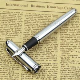 Luksusowa marka Jinhao X750 ze srebra ze stali nierdzewnej pióro wieczne Medium 18KGP stalówka szkoła biuro nazwa atrament długo
