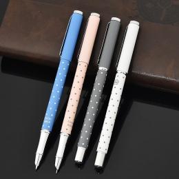 Bohater 0.38mm 8066 metalowe pióro wieczne śliczne Kawaii Dot kaligrafii pióro do pisania dla przybory szkolne dla uczniów uczeń