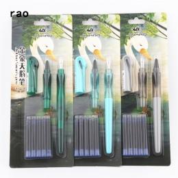 2 sztuk stalówka 5 sztuk niebieski atrament Jinhao zestaw Swan pióra uczeń szkoły dziecko szkolenia pióro wieczne nowość