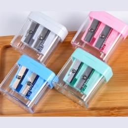 Podwójne otwory plastikowe temperówki do ołówka cukierki kolor przezroczysty standardowy ołówek maszyna do cięcia Deli 0576