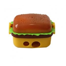Kreatywny projekt 2 otwór Hamburger kształt temperówka z dwoma gumy/gumka szkolne dla dzieci ołówek nóż artykuły biurowe