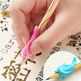 3 sztuk ołówek do trzymania w ręku delfin ryby pisania korekta urządzenie silikonowe trzymaj korektor pióra dla dzieci studentów