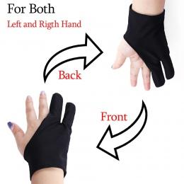 1 PC czarny bezpłatny rozmiar rysunek artystyczny rękawiczki dla każdego rysunku graficznego 2 Finger Anti-zanieczyszczenia, zar