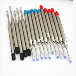 10 sztuk/partia Roller długopis napełniania Medium stalówka niebieski czarny kolorowy atrament Długopisy wkład do szkoły biurowe