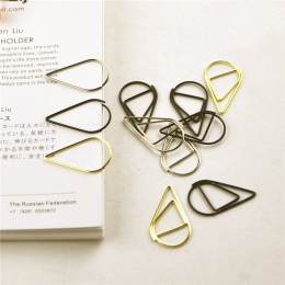 12 sztuk/paczka 6 kolorów krótki styl w kształcie kropli wody metalowa zakładka spinacz do papieru papiernicze szkolne materiały