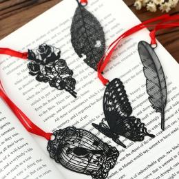 DIY śliczne Kawaii czarny motyl pióro metalowe zakładki do książki papierowe kreatywne przedmioty piękny koreański biurowe preze